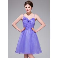 A-Line/Princess Sweetheart Knee-Length Homecoming Dresses With Ruffle Flower(s) (022214004)
