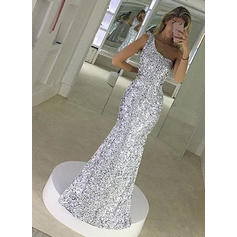 Sequined Sleeveless Trumpet/Mermaid Prom Dresses One-Shoulder Floor-Length