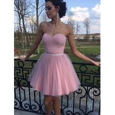 Glamorous Tulle Sleeveless Sweetheart Ruffle Homecoming Dresses