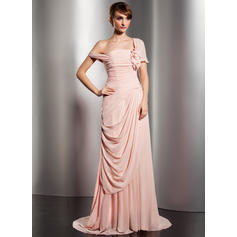A-Line/Princess Off-the-Shoulder Watteau Train Evening Dresses With Ruffle Flower(s)