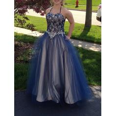 Halter Tulle Ball-Gown Chic Prom Dresses (018210337)