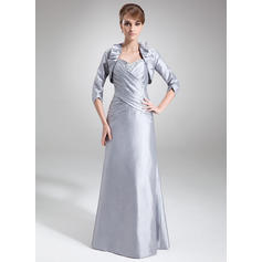 Sheath/Column Sweetheart Taffeta Sleeveless Floor-Length Ruffle Beading Sequins Mother of the Bride Dresses