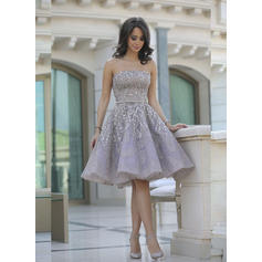 A-Line/Princess Strapless Satin Sleeveless Knee-Length Ruffle Sash Beading Cocktail Dresses