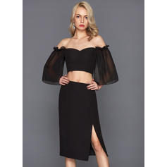 Sheath/Column Off-the-Shoulder Knee-Length Chiffon Cocktail Dress (016124581)