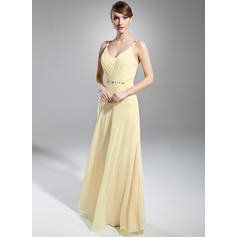 A-Line/Princess V-neck Floor-Length Evening Dresses With Ruffle Beading (017014746)