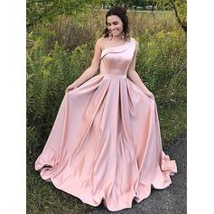 A-Line/Princess One-Shoulder Floor-Length Evening Dresses With Ruffle