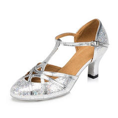 Women's Ballroom Sandals Pumps Sparkling Glitter With T-Strap Buckle Hollow-out Dance Shoes