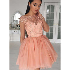 2019 New Chiffon Homecoming Dresses A-Line/Princess Short/Mini Scoop Neck Long Sleeves (022212397)