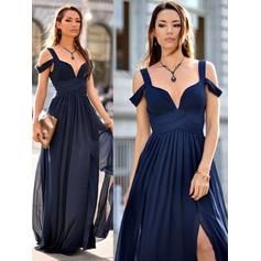 A-Line/Princess Chiffon Bridesmaid Dresses Ruffle V-neck Sleeveless Floor-Length (007211586)