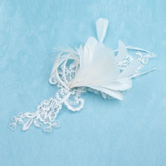 "Flowers & Feathers Wedding/Special Occasion Feather/Lace 8.66""(Approx.22cm) 7.87""(Approx.20cm) Headpieces"