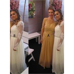 Chiffon 1/2 Sleeves Scoop Neck Floor-Length Zipper Up Mother of the Bride Dresses (008212719)