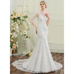 Scoop Trumpet/Mermaid Wedding Dresses Chapel Train