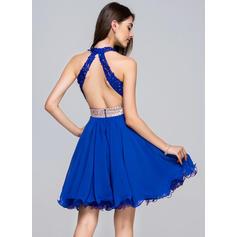 Decote V Sem magas Tecido de seda Renda Moderno Vestidos de boas vindas (022214044)