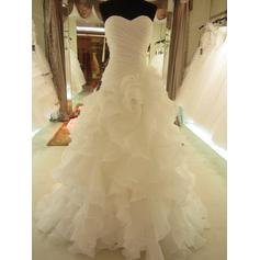 A-Line/Princess Sweetheart Sweep Train Wedding Dresses With Ruffle Bow(s)