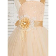 De baile Longos Vestidos de Menina das Flores - Tule/Renda Sem magas alças de ombro com fecho de correr (010091704)