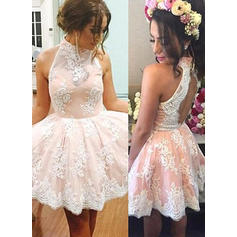 A-Line/Princess High Neck Knee-Length Lace Homecoming Dresses (022212307)