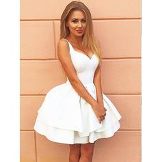 A-Line/Princess V-neck Satin Sleeveless Short/Mini Ruffle Homecoming Dresses