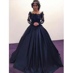 Brodé Motifs appliqués Dentelle Hors-la-épaule avec Satiné Robes de soirée (017217813)