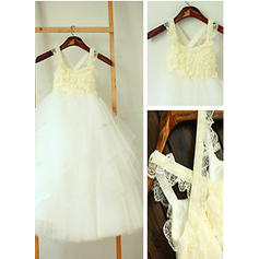 A-Line/Princess Square Neckline Ankle-length With Ruffles Tulle Flower Girl Dresses (010211939)