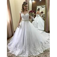 Gorgeous Tulle Wedding Dresses With Cap Straps Beading Appliques Bow(s)