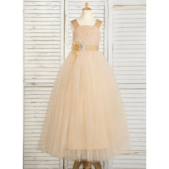 Ball Gown Floor-length Flower Girl Dress - Tulle/Lace Sleeveless Straps With Flower(s) (010091704)