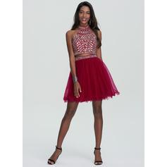 Beading lantejoulas Vestidos princesa/ Formato A Curto/Mini Tule Vestidos de boas vindas (022214163)