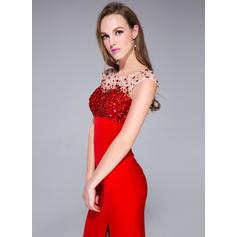 Nuevo de 2019 Corte trompeta/sirena Jersey Barrer/Cepillo tren Sin mangas Vestidos de baile de promoción (018042685)