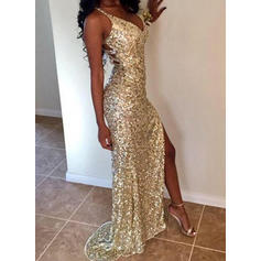 2019 New V-neck Sequined Prom Dresses