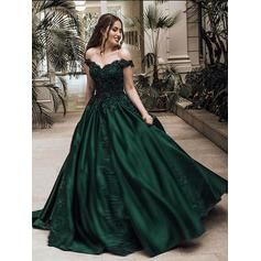 Ball-Gown Off-the-Shoulder Satin Sleeveless Sweep Train Beading Appliques Lace Evening Dresses