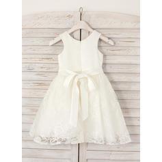Escote redondo Corte A/Princesa Vestidos para niña de arras Satén/Encaje Rhinestone Sin mangas Hasta la rodilla (010211614)