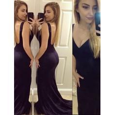 V-neck Jersey Trumpet/Mermaid Magnificent Prom Dresses (018210346)