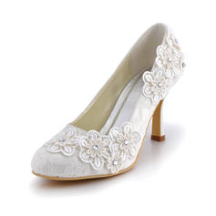 Women's Closed Toe Pumps Stiletto Heel Lace With Rhinestone Flower Wedding Shoes