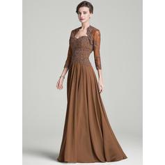 A-Line/Princess Chiffon Sleeveless Sweetheart Sweep Train Zipper Up Mother of the Bride Dresses (008072708)