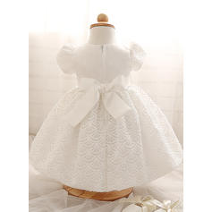 A-Line/Princess Scoop Neck Floor-length Satin Christening Gowns With Beading (2001218007)