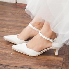 Frauen Geschlossene Zehe Absatzschuhe Stämmiger Absatz Satin Brautschuhe