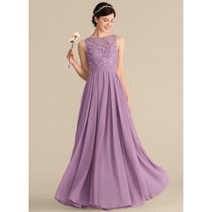 A-Line/Princess Scoop Neck Floor-Length Chiffon Lace Prom Dresses With Ruffle