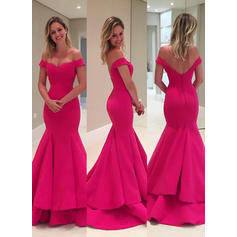 Sweep Train Trumpet/Mermaid Off-the-Shoulder Satin General Plus Evening Dresses