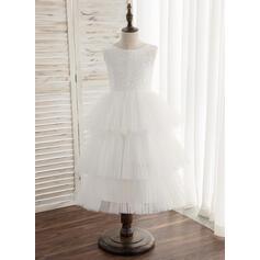 Forme Princesse Longueur cheville Robes à Fleurs pour Filles - Tulle/Dentelle Sans manches Col rond avec V retour (010164609)