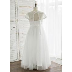 Forme Princesse Longueur cheville Robes à Fleurs pour Filles - Tulle/Dentelle Manches courtes Col rond avec Trou noir (010164742)
