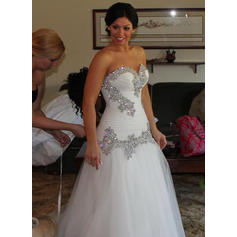 Beautiful Floor-Length A-Line/Princess Wedding Dresses Sweetheart Tulle Sleeveless