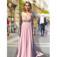 Empire V-neck Sweep Train Prom Dresses With Lace (018218108)