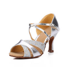 Women's Latin Sandals Leatherette Sparkling Glitter Dance Shoes
