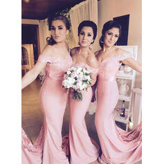 Sleeveless Trumpet/Mermaid Bridesmaid Dresses Off-the-Shoulder Lace Floor-Length