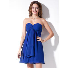 Empire Sweetheart Short/Mini Chiffon Bridesmaid Dress With Cascading Ruffles (007000833)