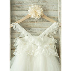 Forme Princesse Longueur genou Robes à Fleurs pour Filles - Tulle/Dentelle Sans manches Bretelles (010093387)