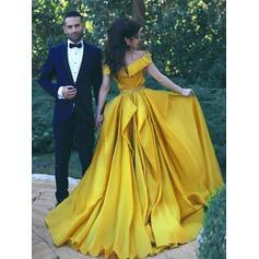 Sweep/Brush trem como o cetim de seda com Vestidos princesa/ Formato A Vestidos de baile