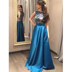 A-Line/Princess Scoop Neck Floor-Length Satin Prom Dresses With Lace