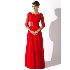 Corte A Decote redondo Longos Tecido de seda Vestido para a mãe da noiva com Pregueado Beading lantejoulas (008005752)