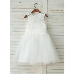 Corte A/Princesa Hasta la rodilla Vestidos de Niña Florista - Satén/Encaje Sin mangas Escote redondo con Fajas (010122553)