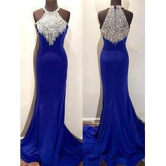 Trumpet/Mermaid Scoop Neck Satin Sleeveless Sweep Train Beading Evening Dresses
